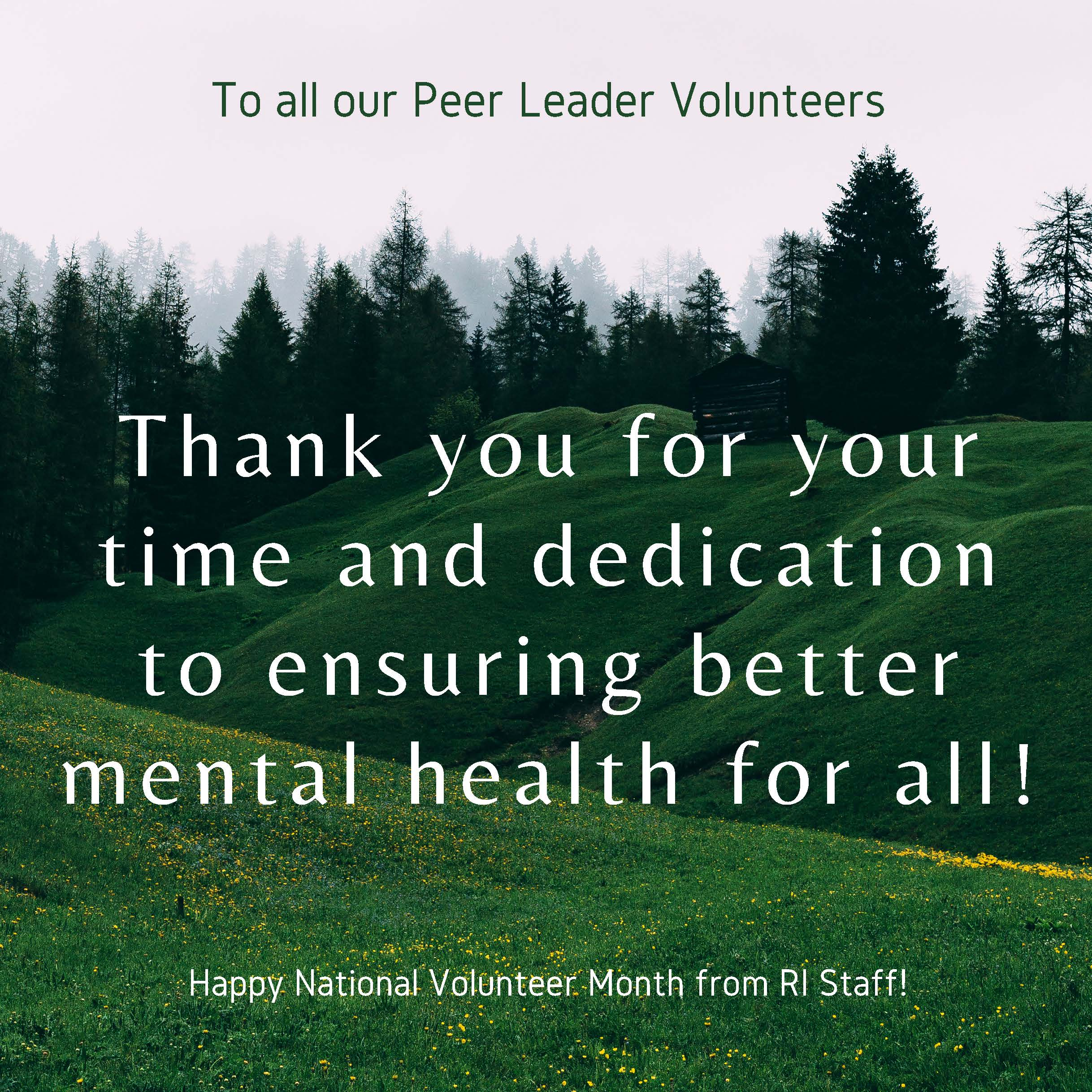 Thank you to all the RI volunteers
